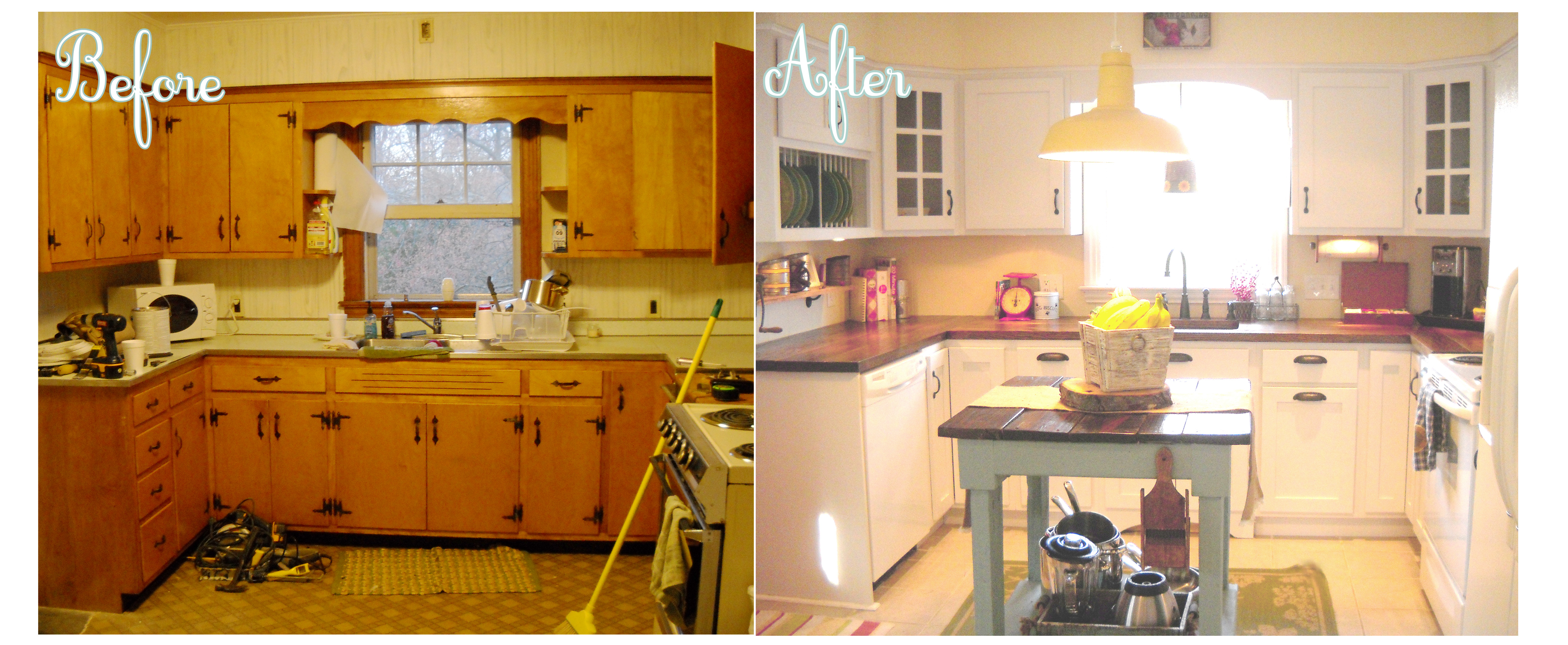 kitchen renovations before and after with white cabinets and wooden countertop and sink combined with table - Small Kitchen Remodel Before And After