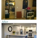 Kitchen Renovations Before And After With White Scheme Wooden Cabinets And Wall With Marble Countertop And Oven Plus Dark Wood Floor And Refrigerator