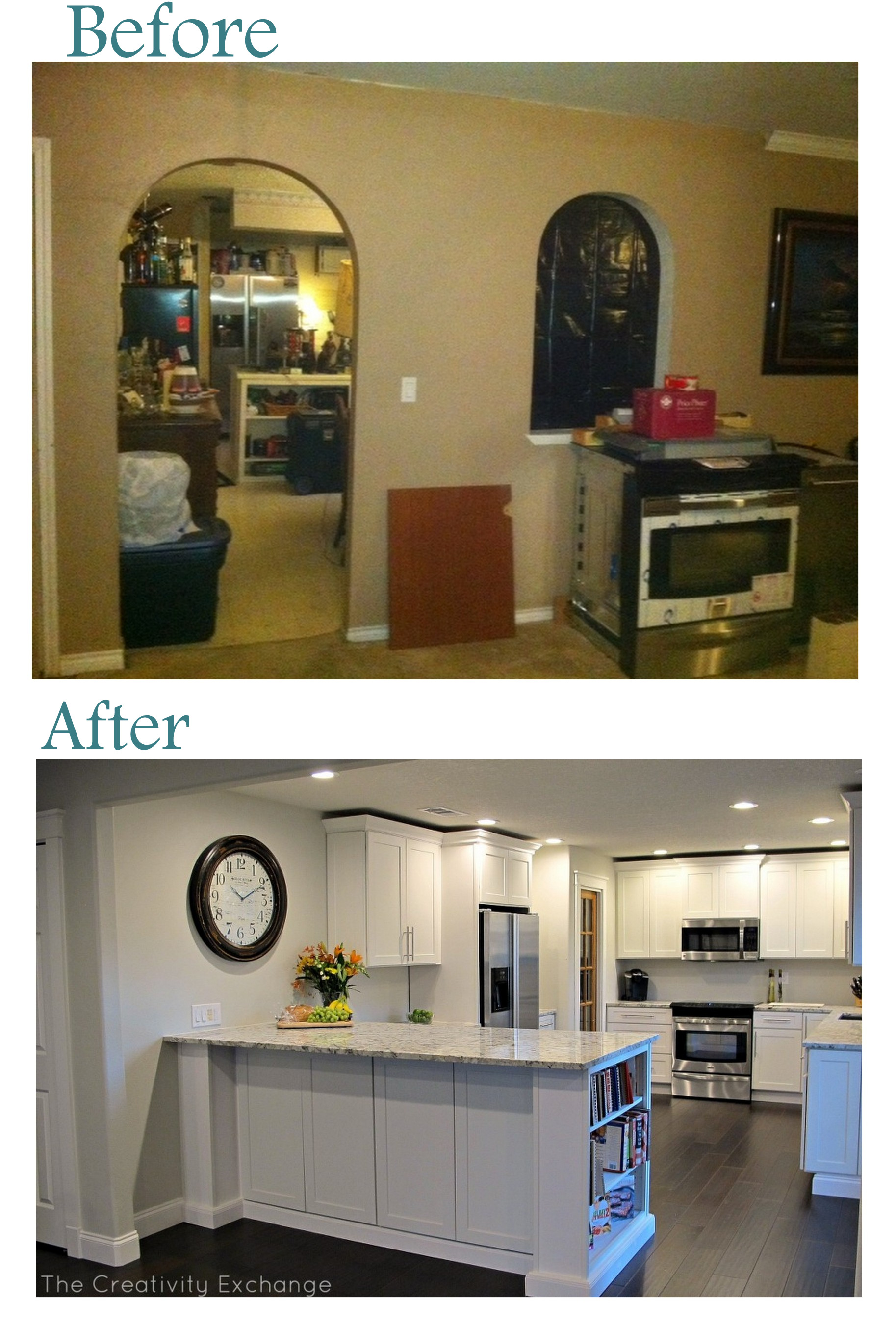Kitchen Renovations Before And After With White Scheme Wooden Cabinets Wall Marble Countertop