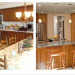 Kitchen Renovations Before And After With Wood Cabinets Plus Marble Countertop With Sink Plus Wood Stool Chairs And Cool Pendant Lights And Tile Floor