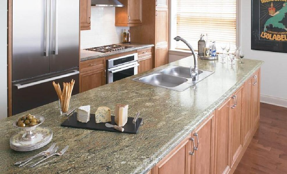 Laminate Surface Kitchen Counter That Is So Similar To Marble Surface  Double Stainless Steel Sinks And