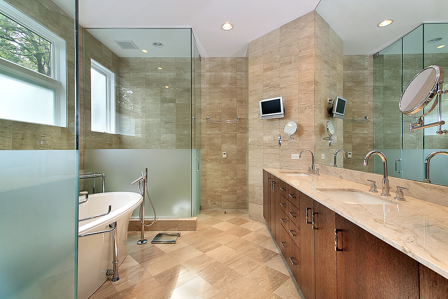 Get an excellent and a luxurious bathroom outlook by Large master bath plans
