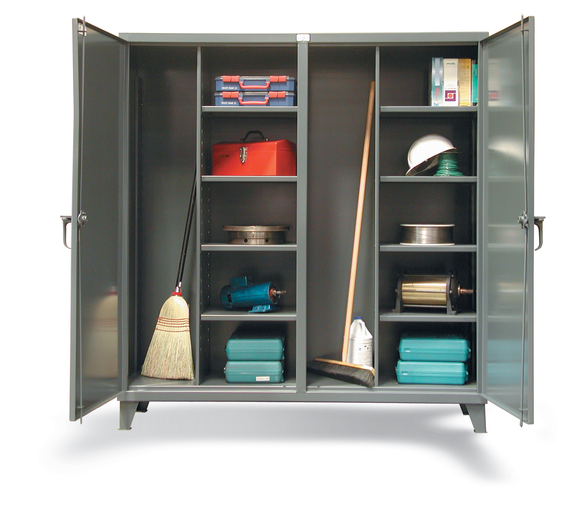 large stainless steel storage for brooms and other stuffs