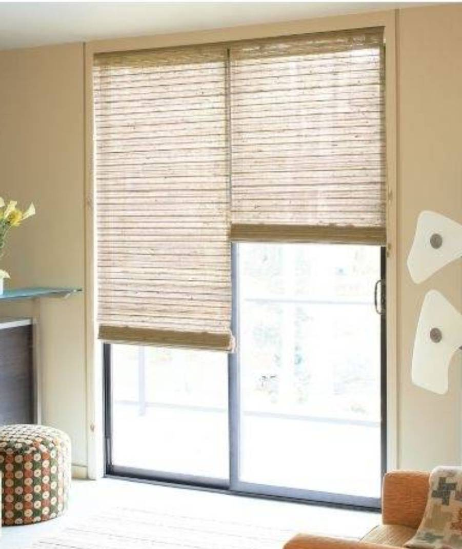 The options of window coverings for sliding glass door for Brown sliding glass doors