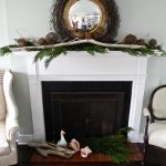 Light Natural White Driftwood Mantle Idea Upon Dark Black Fireplace With Concrete White Design With Root Garland Upon Wooden Floor