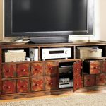 long media console in retro style with many smaller cabinets three shelves for DVD player and storages
