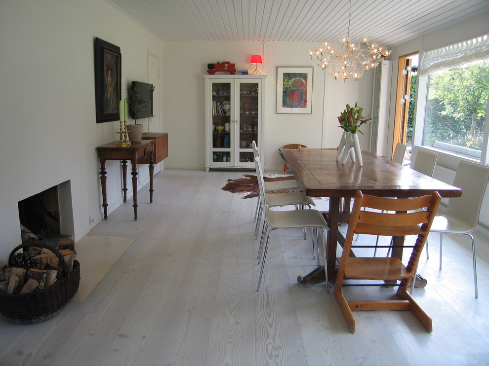 White washed wood floor meets home with industrial style for White dining room ideas