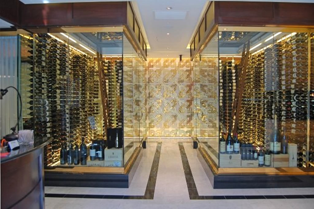Luxurious Double Modern Wine Cellar Idea With Glass Walk In Cellar With  Gorgeous Lighting And Stunning