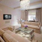 luxurious modern funky chandelier in living room with cream wondrous sofa design and acrylic coffee table above cream flooring design before television set