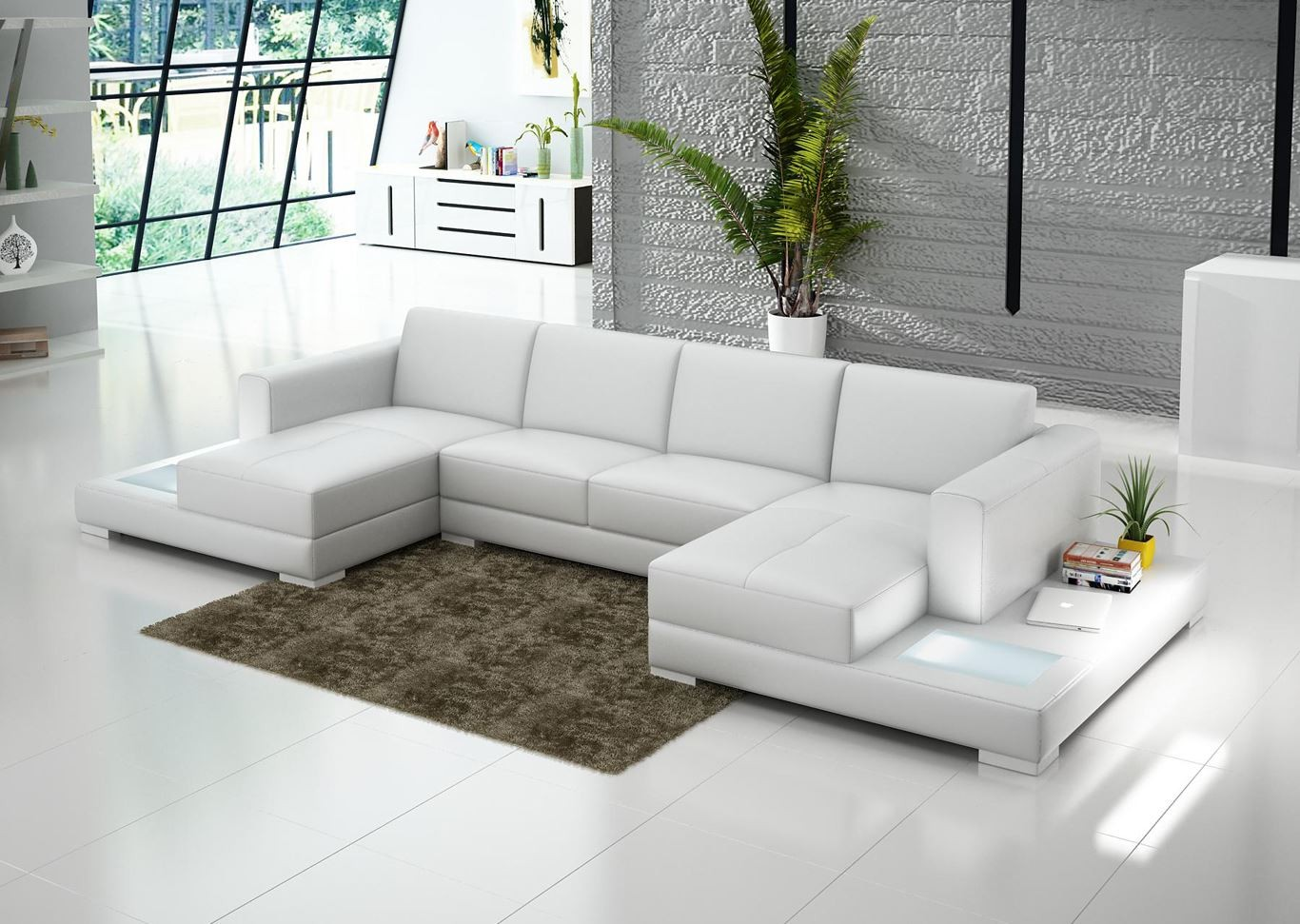 luxurious white double chaise sectional design with brown area rug on white  floor with side stoage