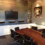 luxury conference room designs visualized with long trunk table and sophisticated wall appliances and family photo ideas