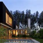 Luxury House Architecture Visualized With Outstanding Black Painted Ideas And Large Glas Window And Outdoor Swimming Pool