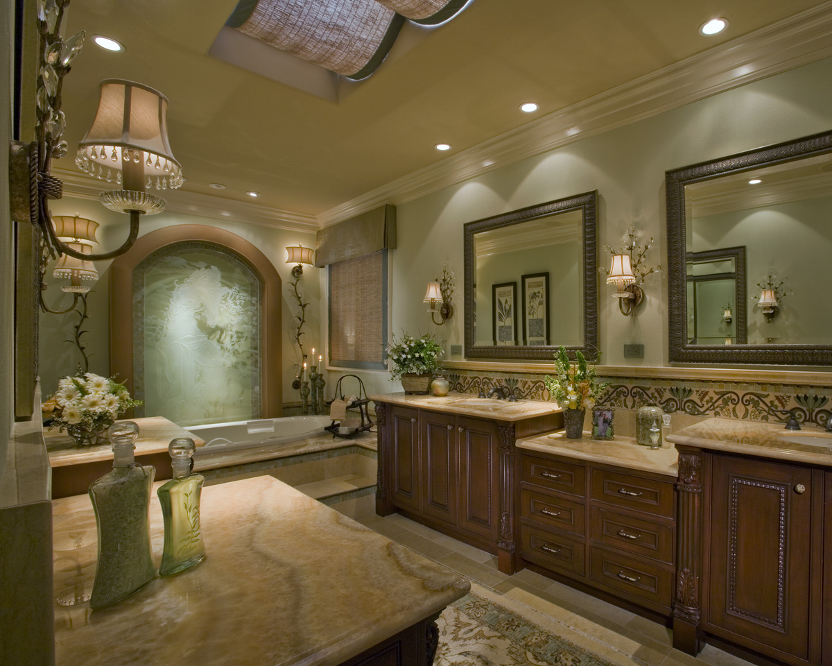 Luxury Master Bath Remodel With Classic Vanity Units And Mirror Plus Sinks Glamour Wall Scones