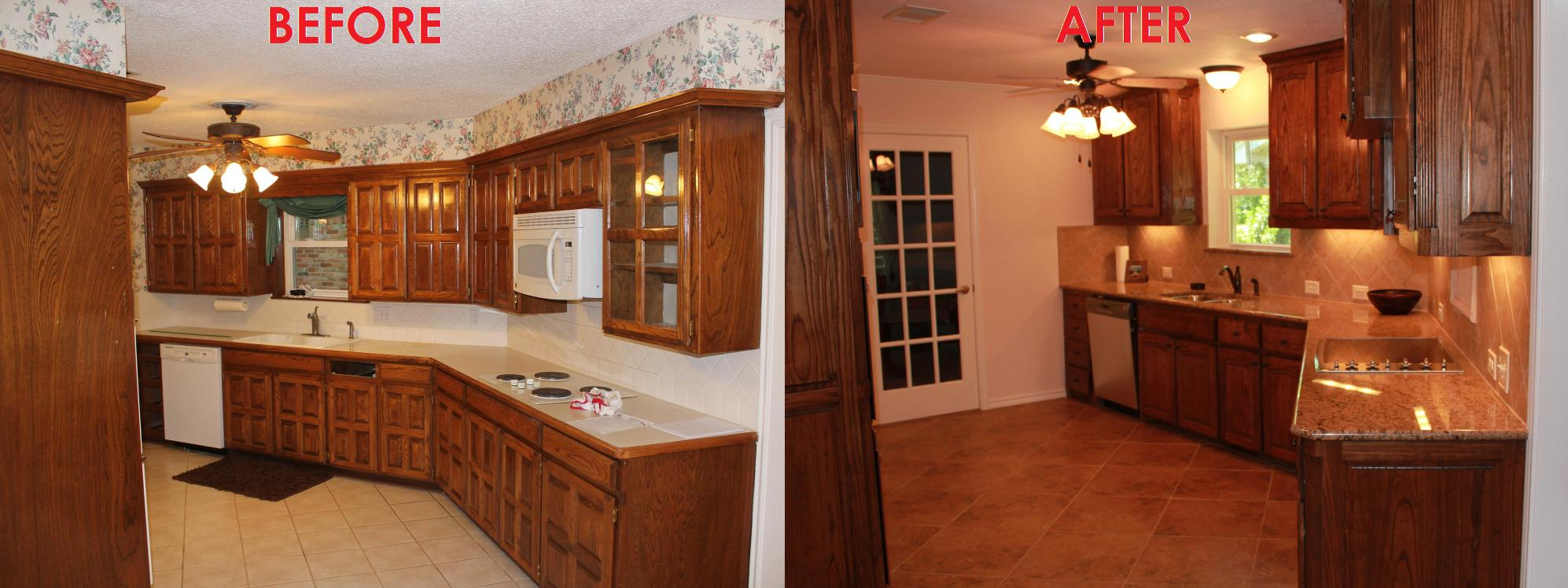 Luxury Small Kitchen Remodel Before And After With New Cabinet Outlook And  Sink Plus Backsplash Together