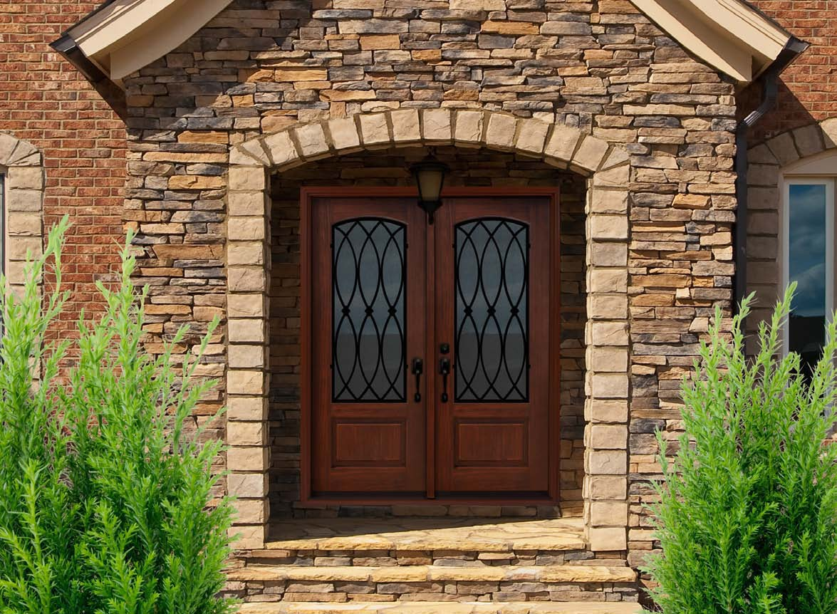 Magnificent Front Door Design With Artistic Detail Double Wood And  Fiberglass Panel And Beautiful Granite Wall