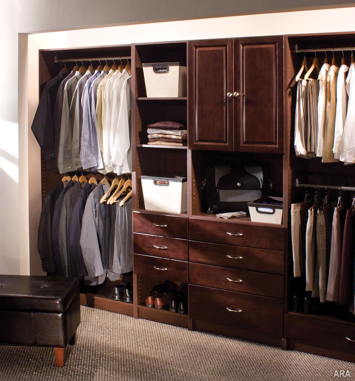 Masculine Custom Closets Nyc With Wardrobe Shoes Storage From Hard Wood  Material With Jute Rug And