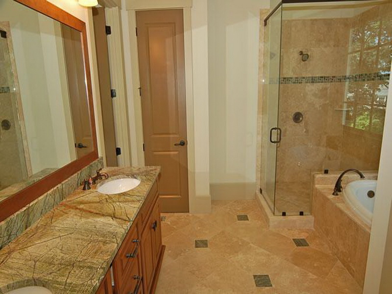 Master Bath Remodel With Tub And Walk In Shower Plus Wooden Vanity Units Natural