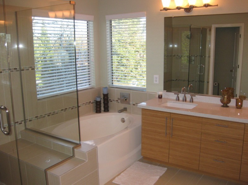 Master Bathroom Remodel With Bathtub And Walk In Shower Glass Wooden Vanity Unist Plus