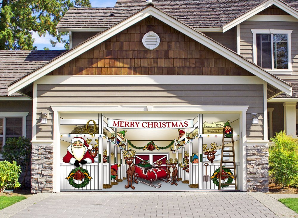 Unique garage doors that mesmerize you with the for Christmas garage door mural