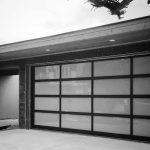mid century modern garage doors with glass and metal gray wall simple garage door