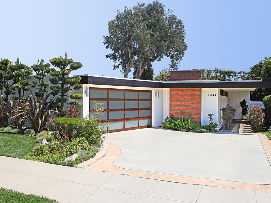 mid century modern garage doors with glass and wood material for two