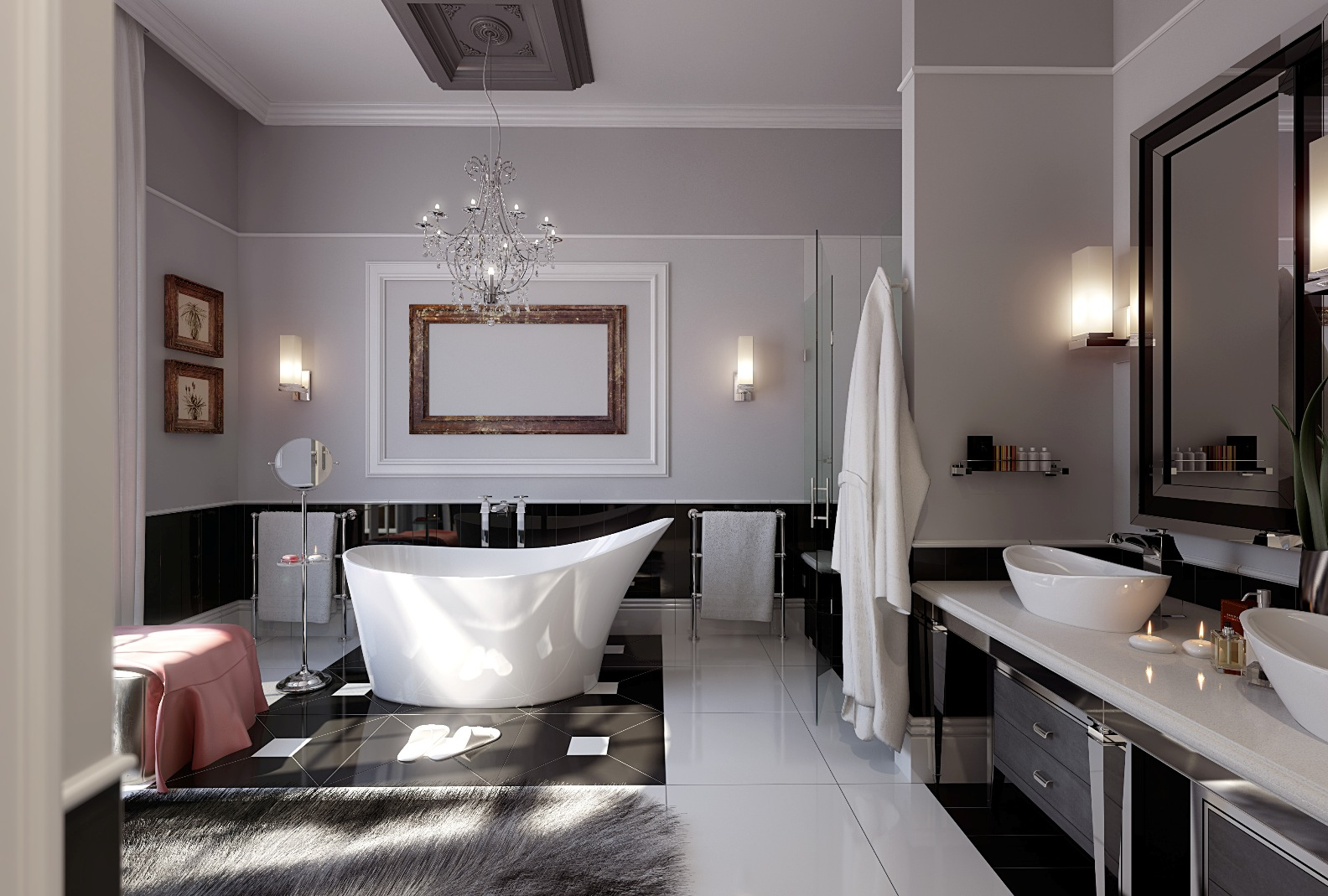 modern bathroom design with unique bathtub and black luxurious vanity beneath rectangle mirror and double modern - Black Luxury Modern Bathroom