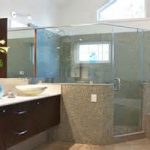 modern bathroom remodeling with hanging vanity sets and ample corner shower plus  sophisticated hot tub