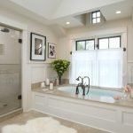 Modern Bathroom Remodeling With White Scheme And Glass Door Combined With Bath Tub Plus Candle Holders Beautified With Pictures And Shades On Windows