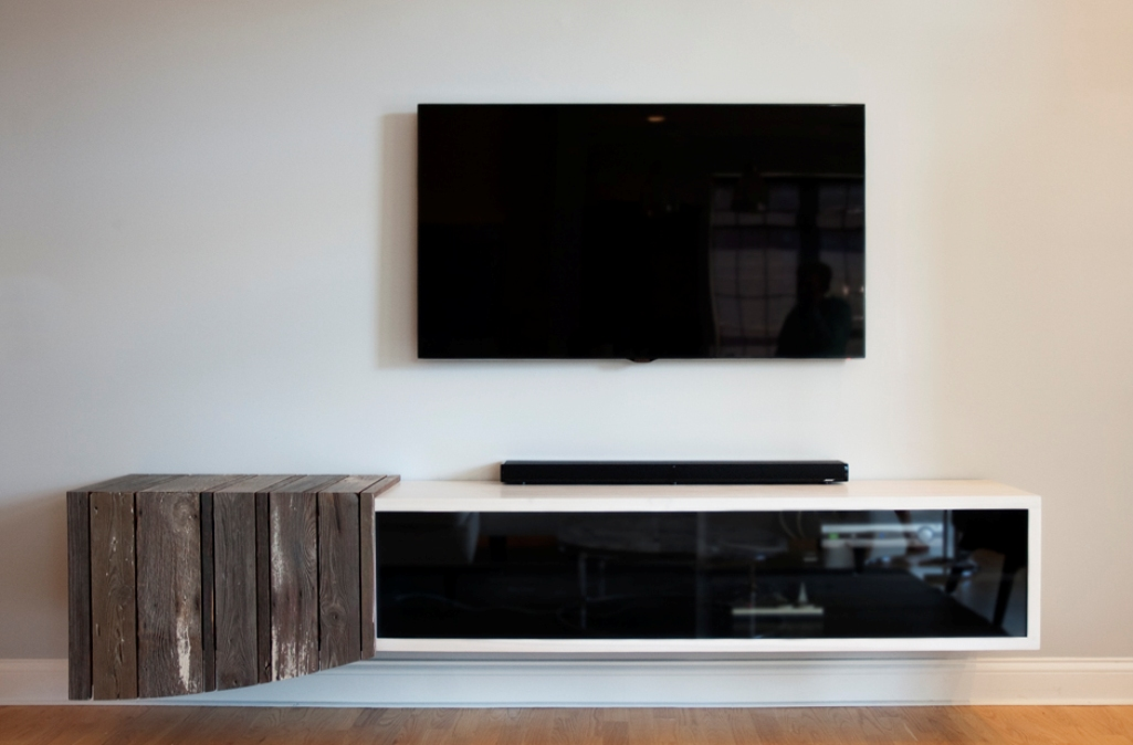 Floating media center for creating the modernity homesfeed for Floating tv stand living room furniture