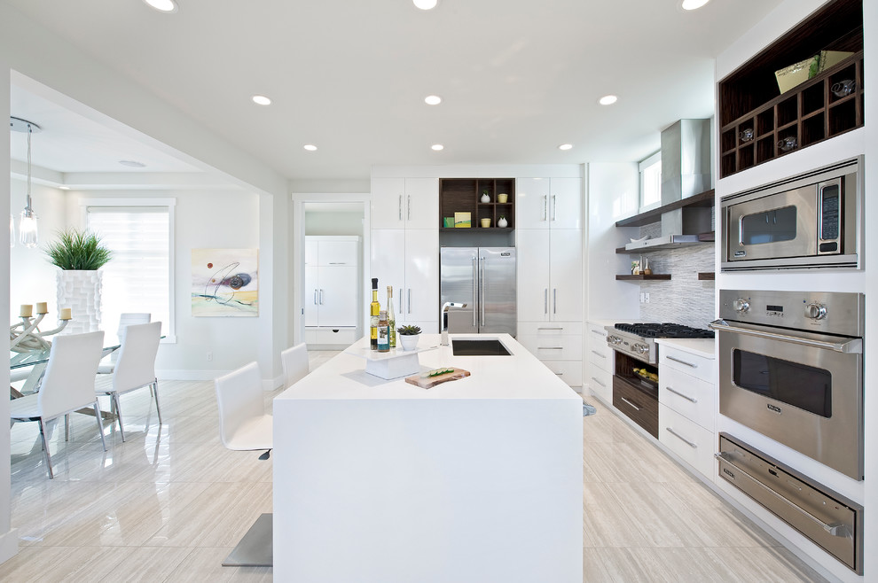 Modern White Kitchen Wood Floor wood floors in modern kitchen