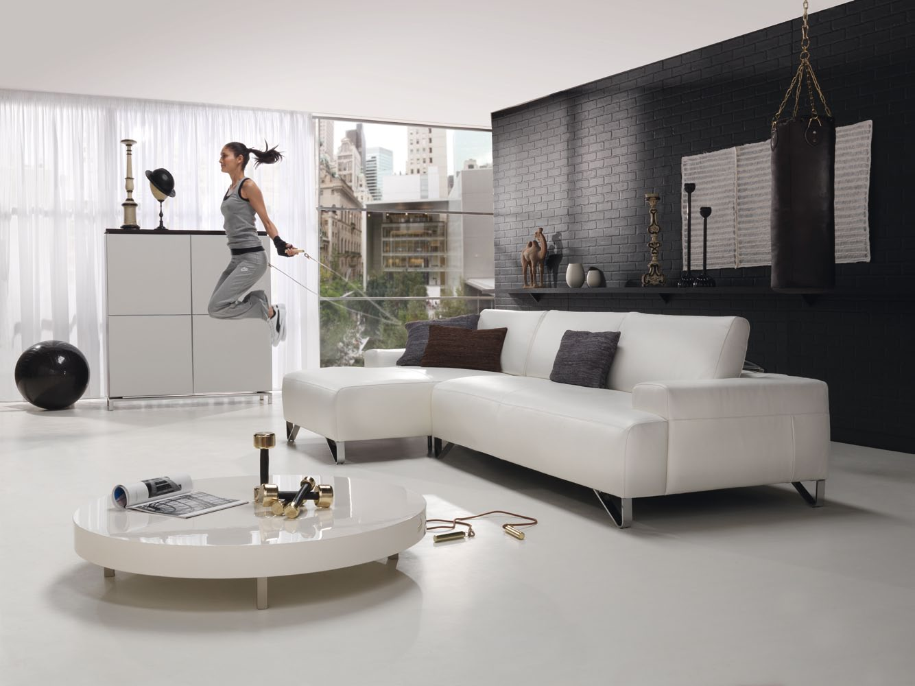 Modern Living Room With Black And White Brick Wall Plus Sofa Oval Coffee Table