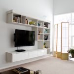 modern minimalist floating TV console in white finishing a flat TV screen floating  open shelves for books and decorative stuffs  a room divider  some indoor plant table stands