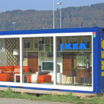 Modern Nice Simple Cool Creative Large Shipping Ontainer House With Glass Transparent Design By IKEA With Blue Coloring And Wonderful Various Furniture