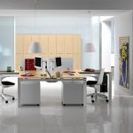 modern office design with two sided desk design in black and white colro with black white swivel chairs with storage and palette idea