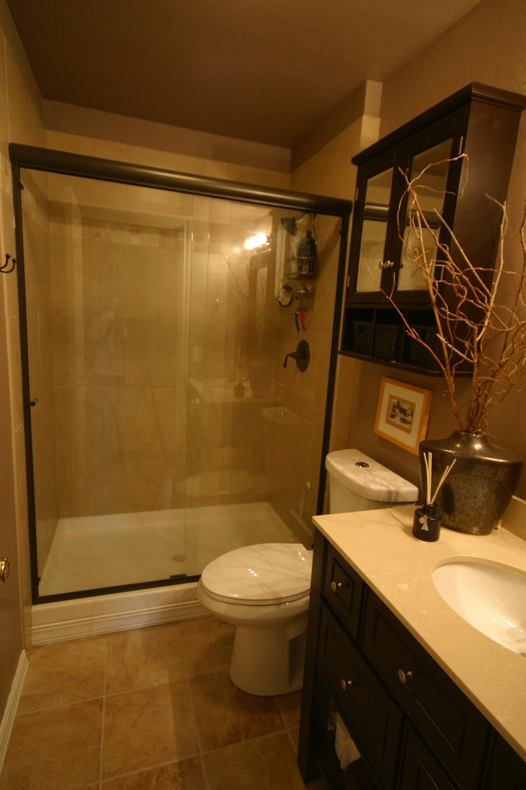 Modern Small Bath Remodel With Lighting And Walk In Shower With Glass Wall  And Tile Wall