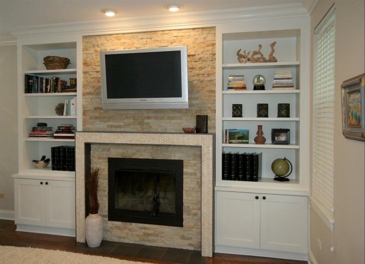 Various Samples Of Built In Cabinet Around Fireplace
