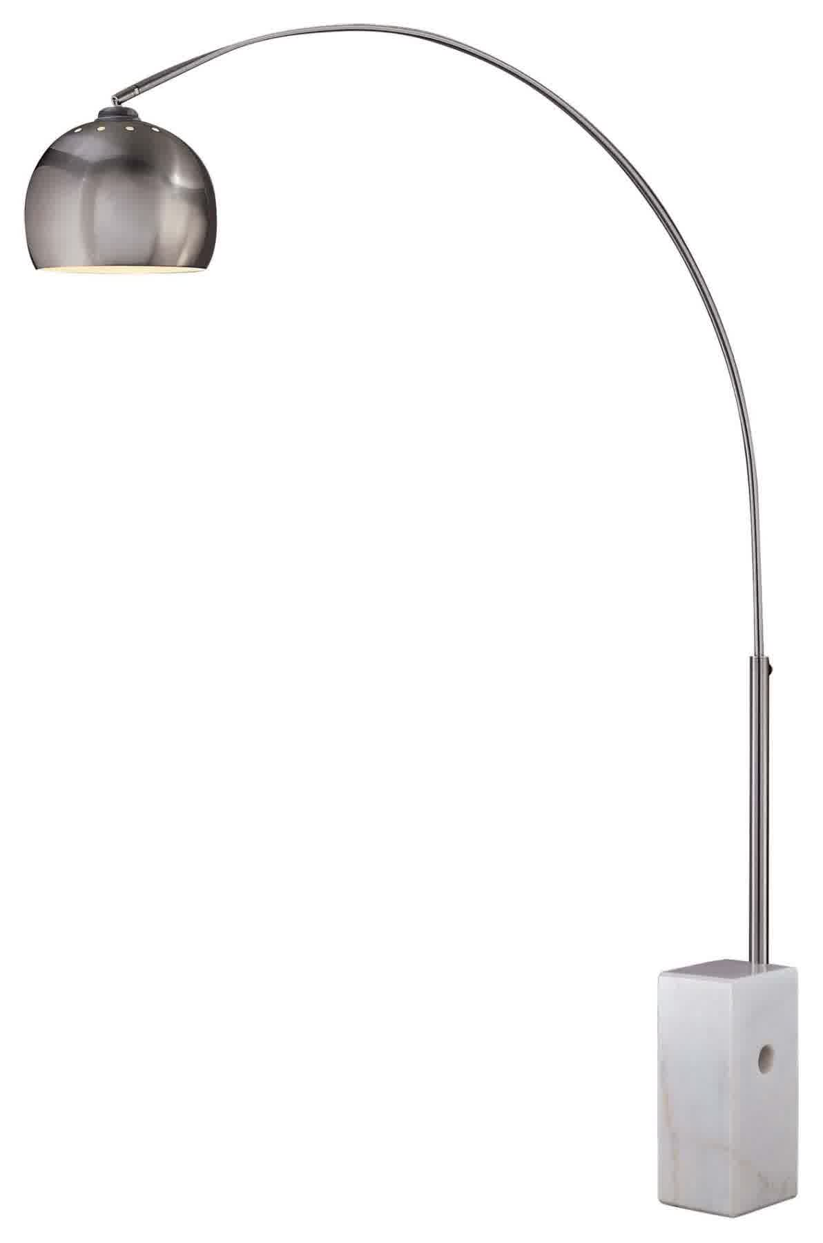 modern stand george kovacs lighting in brushed stainless steel with white marble base finish and metal