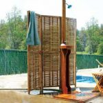 mounted copper shower head with wood stand a wood panel for outdoor shower enclosure