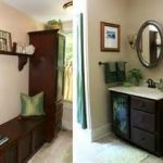 natty bathroom remodel in budget with elegant brown mudroom bench under wall self combined stupendous vanity sets and framed paintings