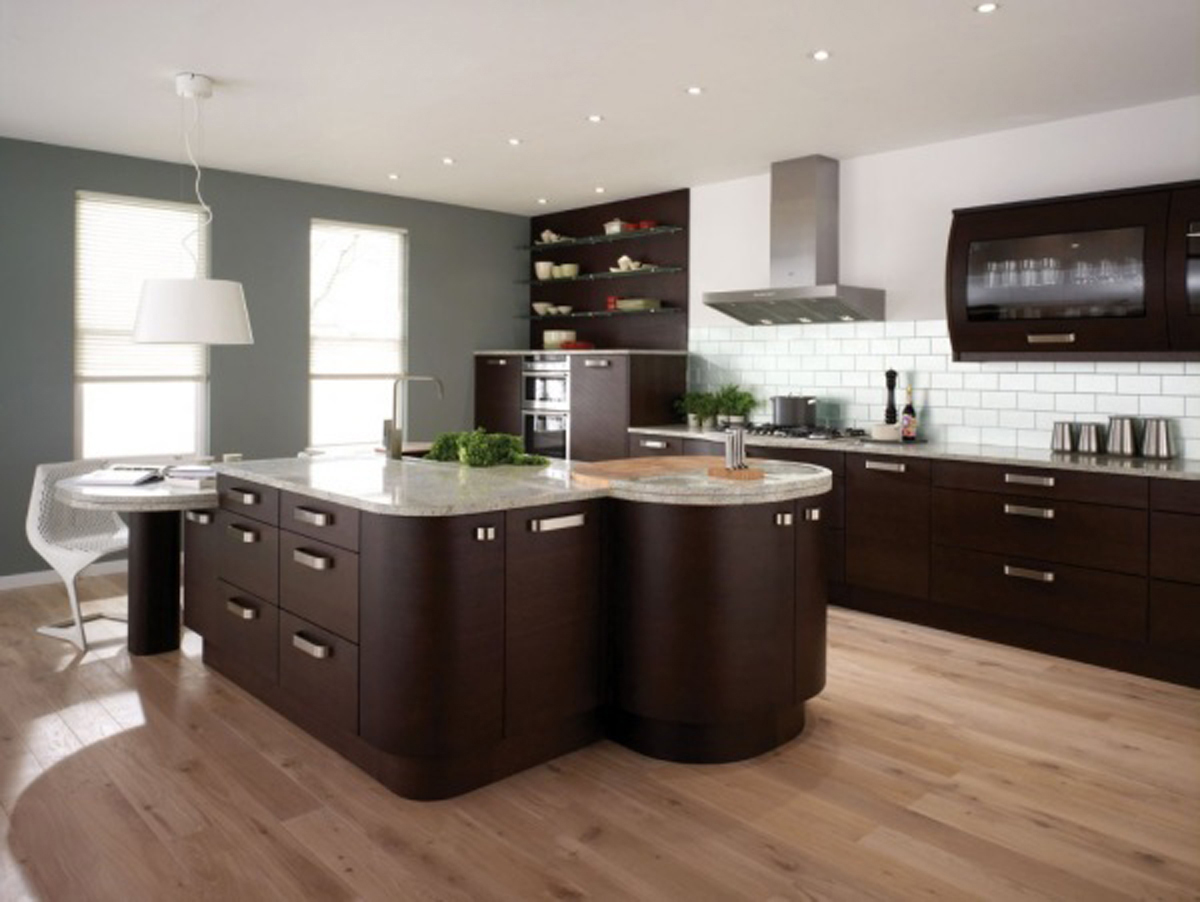 Natural Beige Bamboo Flooring In Kitchen With Brown Modern Cabinet Design  With Stainless Steel Handles And