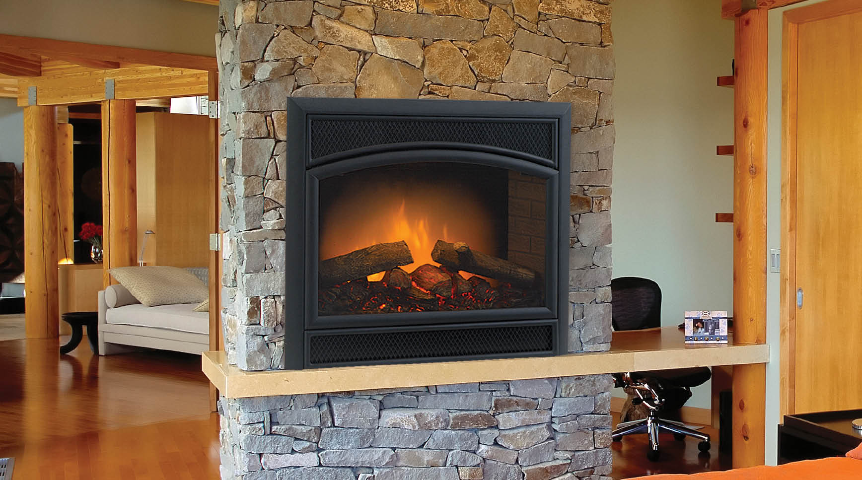 Two sided fireplace warms spacious interior effortless - Fireplace between two rooms ...