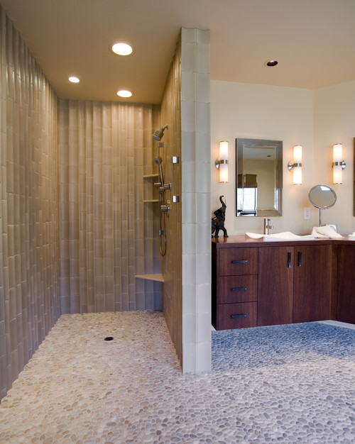 No Door Walk In Shower With Corner Floating Bench And Floating Corner Shelves L Shape Wood