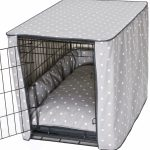 one view dog crate with bedding and black metal wire material