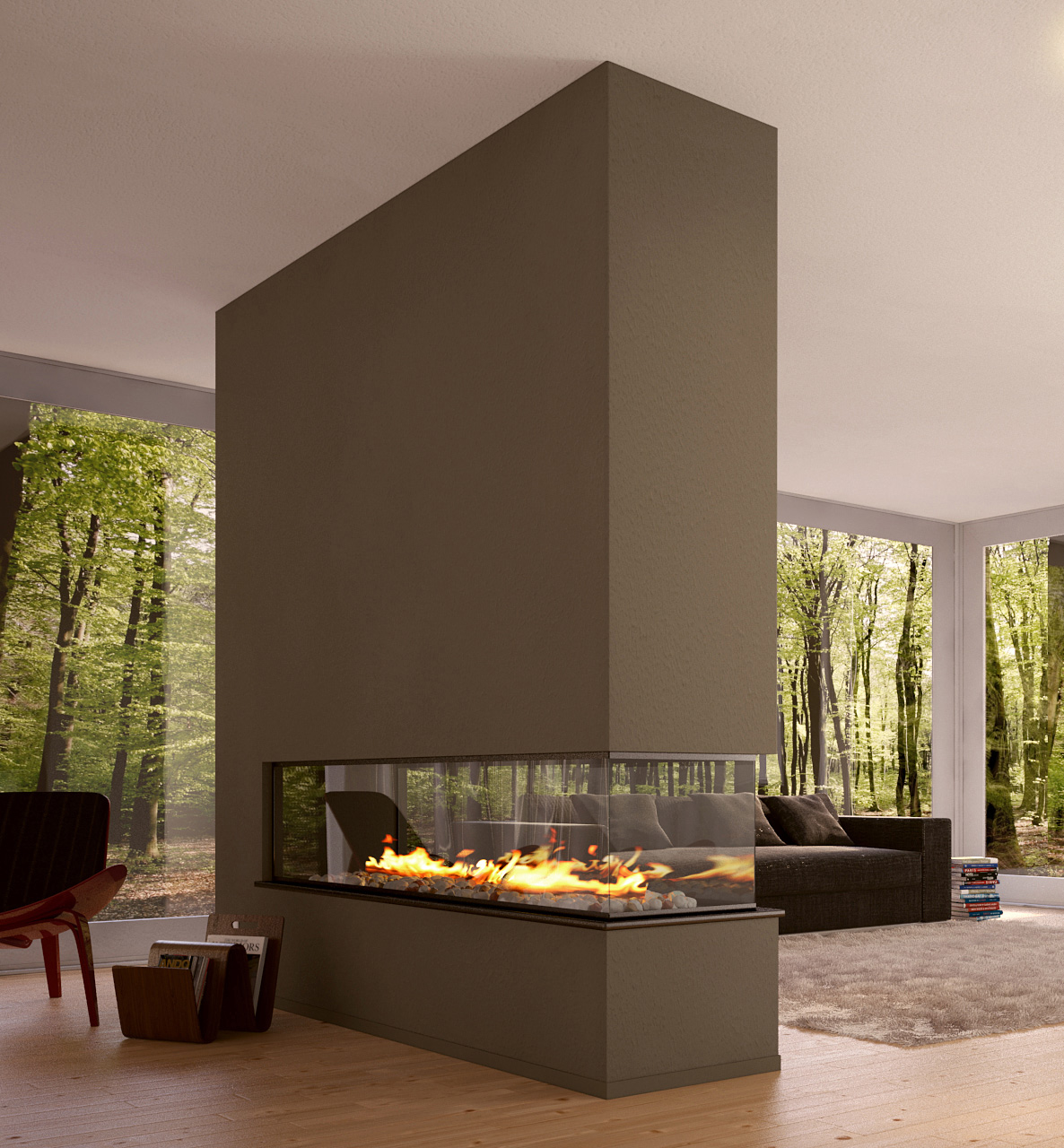 Two sided fireplace warms spacious interior effortless with eclectic plan homesfeed for Interior design fireplace living room
