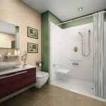 Pleasurable Green Bathroom Ideas Decorated With Stunning Walk In Shower Designs And Elegant Powder Room Aside Wall Art And Flush