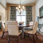 pretty window treatments dallas in dining room with beautiful motif curtain plus white blinds and beautiful dining chairs and art