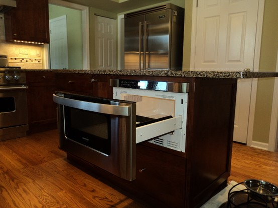 Pull Out Microwave Drawer In Large Size Hardwood Floors For Kitchen Marble Surface Countertop