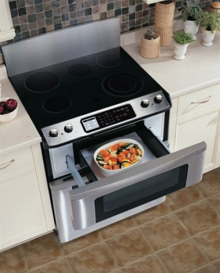 Pull Out Microwave Drawer In Under Electric Stove Brown Ceramic Tiles Floors Pure White Kitchen Counter