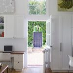 pure white modern Dutch door as entrance
