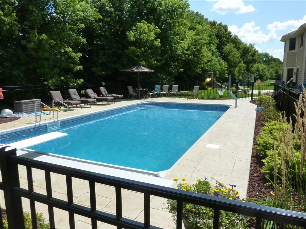 Rectangle pool designs that will give you awesome swimming for In ground pool fence ideas
